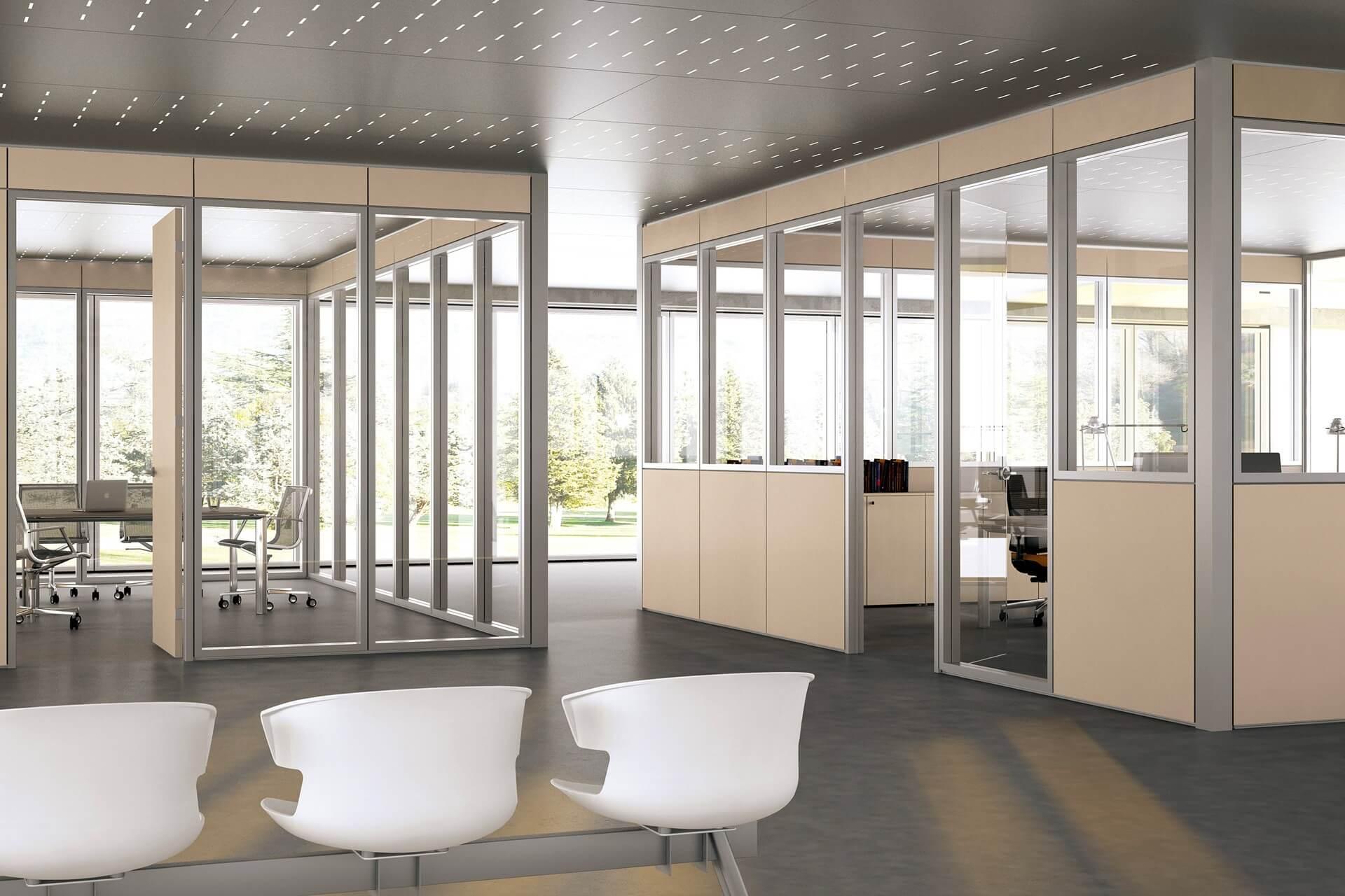 Parete divisoria in legno parete divisoria cieco vetrata con struttura in alluminio - Parete divisoria in legno ...