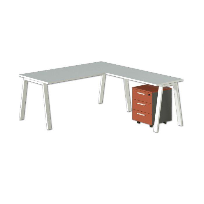 scrivania operativa angolare con cassettiera