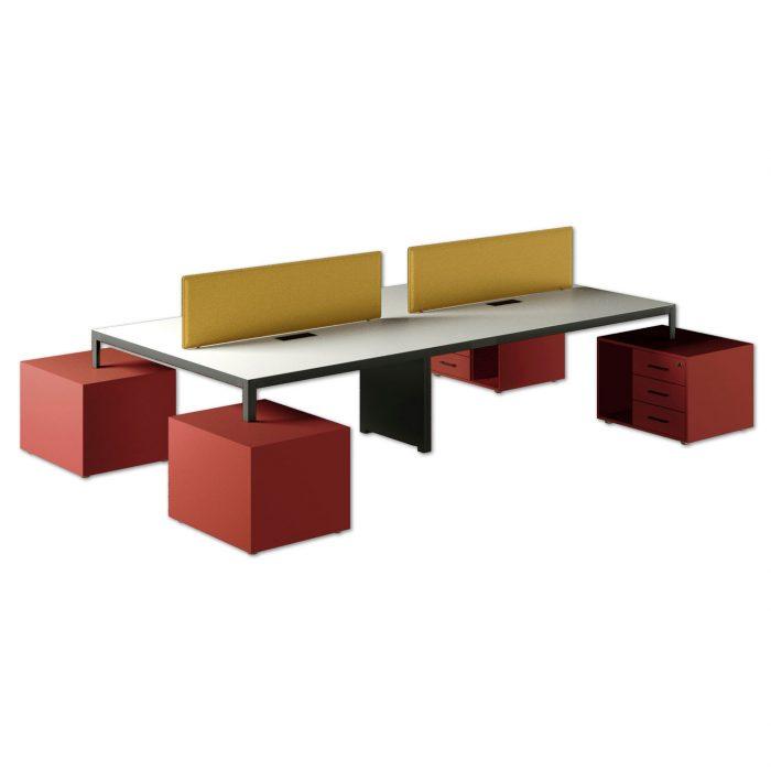 scrivania direzionale infinity con pannelli acustici e cassetti